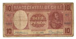 Chile 10 Pesos / 1 Condor, 1933, G, Dirt. Rare. - Chile