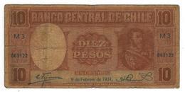 Chile 10 Pesos / 1 Condor, 1931, G, Dirt. Rare. - Chile