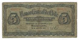 Chile 5 Pesos/  1/2  Condor, 1927, G, Dirt. Rare. - Chile