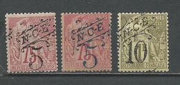 NOUVELLE CALÉDONIE Scott 36, 37, 38 Yvert 37, 38, 39 (5) *VLH (37-38) Et *signé (39)   62,00 $ 1892 - Nouvelle-Calédonie