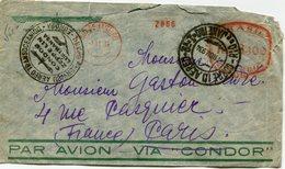"BRESIL LETTRE AVEC CACHET "".........CONDOR ZEPPELIN........BRASIL-EUROPA"" DEPART RIO DE JANEIRO 7 NOV 934 POUR LA FRANCE - Luchtpost"