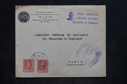 ESPAGNE - Enveloppe Commerciale De Bilbao Pour La France Avec Censure Militaire Et Cachet Saludo A Franco - L 25687 - Marcas De Censura Nacional