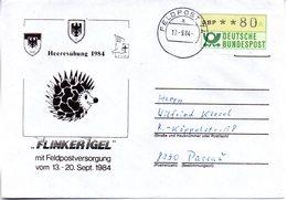 "(BWFP1) BRD-Bundeswehr, Feldpost-Sonder-Umschlag ""Heeresübung 1984 - FLINKER IGEL"" 17.9.1984 Poststelle 74a, Brief 1984 - Lettres & Documents"
