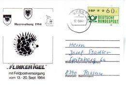 """(BWFP1) BRD-Bundeswehr, Feldpost-Sonder-Karte """"Heeresübung 1984 - FLINKER IGEL"""" 17.9.1984 Poststelle 74a, Brief 1984 - Lettres & Documents"""