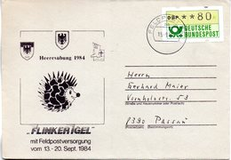"(BWFP1) BRD-Bundeswehr, Feldpost-Sonder-Umschlag ""Heeresübung 1984 - FLINKER IGEL"" 15.9.1984 Poststelle 74aa, Brief 1984 - Lettres & Documents"