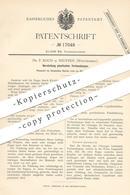 Original Patent - Dr. P. Koch , Neuffen / Württemberg 1881 , Plastische Verbandpappe   Pappe   Karton   Papier   Medizin - Documents Historiques