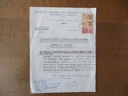 AMICALE DES DEPORTES ET INTERNES RESISTANTS ET PATRIOTES CHATEAU THIERRY 17 NOVEMBRE 1949 TIMBRES FISCAUX DIMENSIONS 40 - Documents Historiques