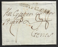 1795 - 33 MONTPELLIER 57mm X 12mm A GENES ( GENOVA ) - Marcophilie (Lettres)