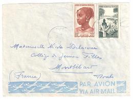 BOUAKE Côte D'Ivoire Lettre Timbre AOF 20F Fille Peuhl 25F Lavandière Yv 41 42 Ob 1953 - Briefe U. Dokumente