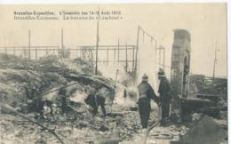 """Brussel - Bruxelles - Exposition - Kermesse - L'Incendie Des 14-15 Août 1910 - La Fontaine Du """"Cracheur"""" - Ed. Valentine - Expositions Universelles"""