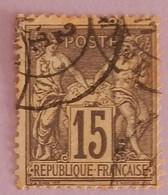 FRANCE TYPE SAGE YT 77 OBLITERE ANNEE 1876 - 1876-1898 Sage (Type II)