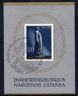 YUGOSLAVIA 1961 20th Anniversary Of Insurrection Block Used.  Michel Block 6 - Blocks & Sheetlets