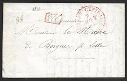 1838 - LAC - PARIS - BUREAU CENTRAL - PORT PAYÉ A Le Maire De BERGUES - Port Payé - Marcophilie (Lettres)
