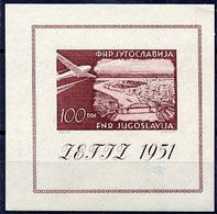 YUGOSLAVIA 1951 ZEFIZ Exhibition Block MNH / **.  Michel Block 5 - Blocks & Sheetlets