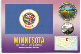 Seal Of The State Of Minnesota  (L'Etoile Du Nord) , Postcard Sent To Andorra, With Arrival Postmark - Etats-Unis