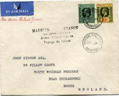 """MAURICE LETTRE PAR AVION AVEC CACHET """" MAUR1CE- FRANCE 1ère LIAISON... AVION ROLAND GARROS..."""" DEPART MAURITIUS 20 JA 37 - Mauritius (...-1967)"""