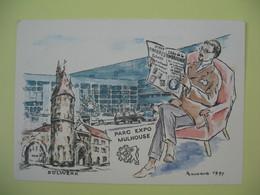 Carte Parc Exposition De Mulhouse - Salon Philatélique Réalisé Par Eugène Lacaque 1997  N° 01221 - Expositions