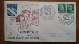 Premier Jour  FDC..  CINQUANTENAIRE   Ste  PHILATELIQUE  De  L'EST .. 1953 .. TROYES - FDC