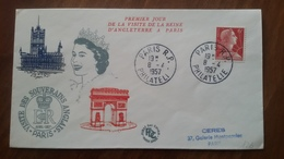 Premier Jour  FDC..  PARIS  R. P.   PHILATELIE ..REINE D 'ANGLETERRE  1957 - FDC