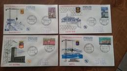 Premier Jour  FDC.. Lot  De 4 ..VILLE  De FRANCE  RECONSTRUITE ..maubeuge / Saint Dié / Le Havre / Sète 1958 - FDC