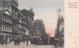 Melbourne VIC Australia, Collins Street Scene, Street Car, Wagons, C1900s Vintage Postcard - Melbourne