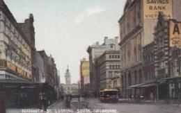 Melbourne VIC Australia, Elizabeth Street Scene Looking South, Bank Sign, Street Car, C1900s/10s Vintage Postcard - Melbourne