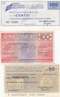 Lot Of 3 Italy 'Mini Checks' 50- And 100-Lire Notes, Banca Industriale Gallaratese, Populaire Di Milano 1970s Issues - [10] Cheques En Mini-cheques
