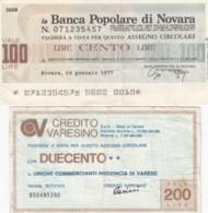 Lot Of 2 Italy 'Mini Checks' 1000- And 200-Lire Notes, Banca Popolare Di Novara & Credito Varesino 1970s Issues - [10] Cheques En Mini-cheques