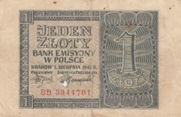 Poland #99 1 Zloty Banknote, 1941 Issue - Poland