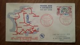 Premier Jour  FDC..  Cinquantenaire  Du  Tour  De  France  Cycliste .. 1953 - FDC