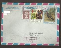 Pheasant Tragopan Pakistan Pre-stamped Stationery Used Abroad UK Great Britain Civil War Horse Flag 1992 SG 1623 YV 1627 - 1952-.... (Elisabeth II.)