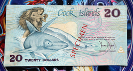 Cook Islands 20 Dollars 1987 Specimen XF/aUNC - Cook Islands