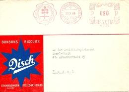 """Motiv Brief  """"Disch Bonbons Biscuits Othmarsingen""""  (Freistempel Label)          1948 - Suisse"""