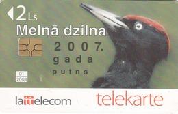 LATVIA - Black Woodpecker, Tirage 50.000, Used - Lettonie