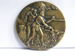 Médaille Bronze 78 Mm, Graveur Vinol, Matériel Agricole, Galucho 70 Ans, Agriculture - Professionnels / De Société