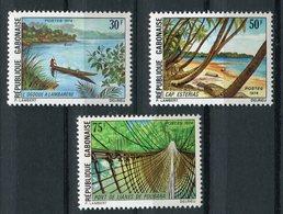"""GABON  1974  MNH  -  """"  TOURISME : PEISAGES  """" -  3  VAL - Gabon (1960-...)"""