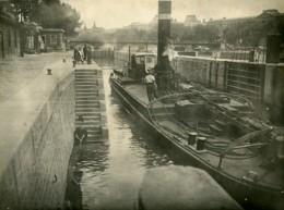 France Paris Bords De Seine Peniche Canal Ecluse Ancienne Photo Amateur 1910 - Lieux