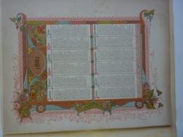 ALMANACH 1882  CALENDRIER CHROMO LITHOGRAPHIE ARABESQUE   Enluminure  Imp St- Augustin  Bruges Chem 3-34 - Calendriers