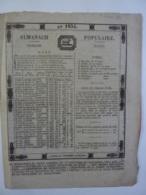 ALMANACH  POPULAIRE TROISIEME Mars  1834  CALENDRIER  EDITION  JOURNAL NANTES Imprimerie DE MELLINET Chem 3-34 - Big : ...-1900