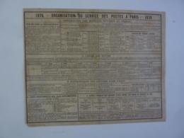 ALMANACH 1876 Extrait CALENDRIER ORGANISATION DES POSTES A PARIS , Cartes Des Environs  De Paris   Chem 3-36 - Calendriers