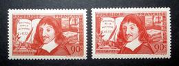 FRANCE 1937 N°341 ET 342 ** (DESCARTES) - Unused Stamps