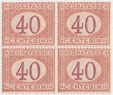 SI53D Italia Italy Regno Segnatasse Emesso Il 1870 Quartina 40 C. Cifra Entro Un Ovale MLH - Usati