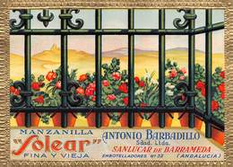 """07766 """"MANZANILLA SOLEAR FINA Y VIEJA - ANTONIO BARBADILLO - SANLUCAR DE BARRAMEDA"""" ETICH. ORIG. - Etichette"""