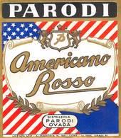 """07767 """"AMERICANO ROSSO PARODI - DISTILLLERIA PARODI - OVADA (AL)"""" ETICH. ORIG. - Etichette"""