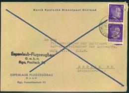 """1944, """"Durch Deutsche Dienstpost Ostland"""" Abs. """"Espenlaub Flugzeugbau"""" RIGA An Reichsluftfahrtministerium - Besetzungen 1938-45"""