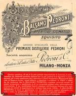 """07768 """"BALSAMO PEDRONI - APERITIVO STOMATICO - SQUISITO - PREMIATE DISTILLERIE PEDRONI - MILANO MONZA"""" ETICH. ORIG. - Etichette"""