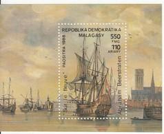 1988 Madagascar Malagasy Art Paintings Sailing Ships  Souvenir Sheet MNH - Madagascar (1960-...)