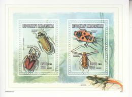 1998 Madagascar Malagasy Insects Lizard    Souvenir Sheet MNH - Madagascar (1960-...)