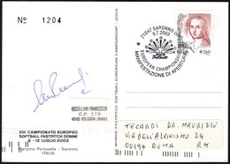 ITALIA SARONNO (VA) 2003 - CAMPIONATO EUROPEO SOFTBALL FASTPITCH DONNE - CARTOLINA UFFICIALE VIAGGIATA - Baseball