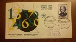 Premier Jour  FDC..   LAGRANGE . 1958 ..  Mathematicien - Other
